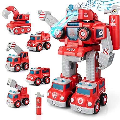 Sillbird STEM Toys for 5 Year Old Boys, Take Apart Robot Vehicle Set 5 in 1 Construction Toys Cars Projects Transform into Robot Toys Gifts for Kids Girls Ages 3 4 5 6 7 8 (88PCS)