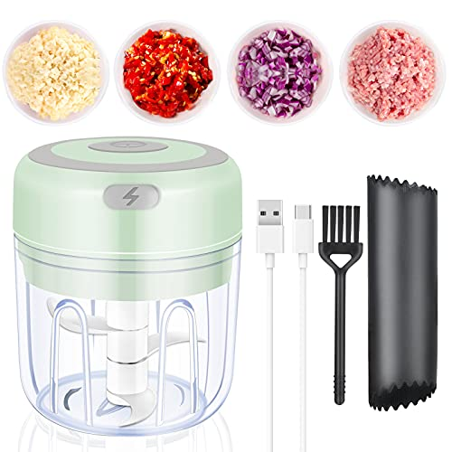 Picador de Alimentos Eléctrico, 250 ml Machacador de ajo con Carga USB...