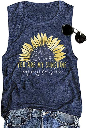 You are My Sunshine Women Sunflower Workout Tank Tops Cute Graphic Relaxed Athletic Holiday Vest Shirt Tee, Blue S