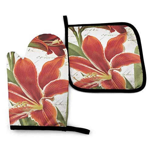 Oven Mitt and Pot Holder Set,Red Amaryllis Christmas Flower Oven Glove and Pot Holder Mat Set Heat Resistance Non-Slip for BBQ Cooking