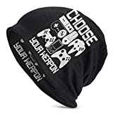 XCNGG Your Weapon Gamer Gaming Mujeres Hombres Elegante Beanie Hat Soft Stretch Knit Slouchy Skull Cap