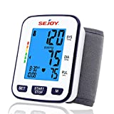 Wrist Blood Pressure Monitor-Automatic Wrist Cuff Digital BP Machine with Large Backlit Display, Pulse Rate Monitoring Meter, 60 * 2 Readings Memory, Batteries Included