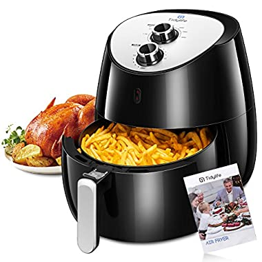 Tidylife Air Fryer XL, 1700W 5.8-Quarts 8 in 1, Oil Free Air Cooker with Recipes, Auto Shut Off, Dishwashable Basket, Black Fryer