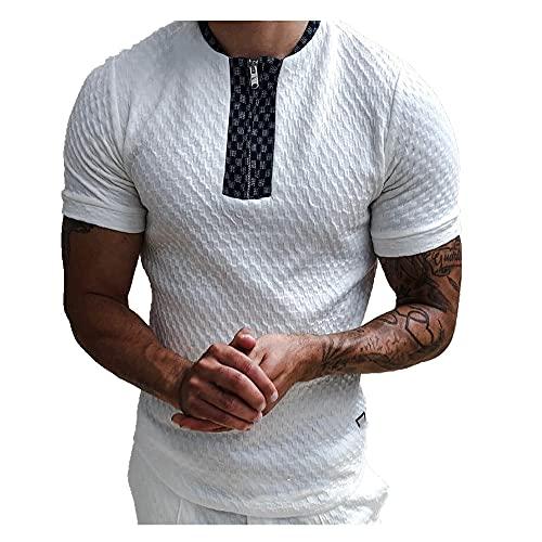 Primavera y verano camisa cremallera de punto camiseta de los hombres, blanco, XL
