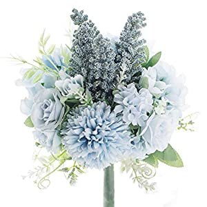 Artificial Flowers Fake Hydrangea Silk Rose Plastic Carnations Small Artificial Flower Arrangements Decor Bouquet for Wedding Table Centerpieces (Blue)