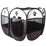 POPETPOP 8 Seiten 28 Zoll Pet Zelt Outdoor Tragbare Katze Hund Laufstall Faltbare Pop Up Camping Zelt für Welpen - Größe Klein
