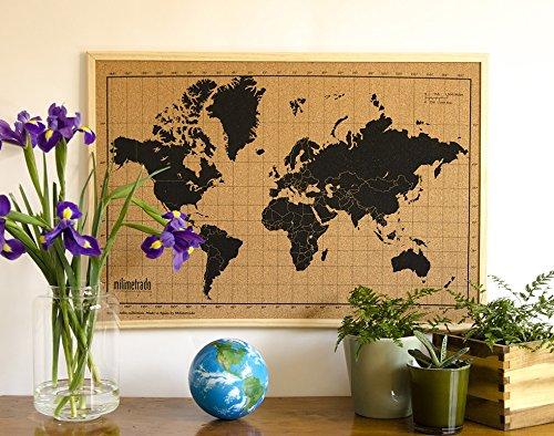 Milimetrado - Mappa del mondo bacheca in sughero/Mappa del mondo Poster in sughero con cornice in legno di pino - 50 x 70 cm - Nero/Marrone