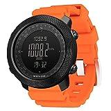 Wan&ya Reloj Inteligente para Deportes al Aire Libre, Reloj Digital Multifuncional Relojes Militares para Hombres Altímetro Barómetro Brújula Reloj Impermeable para montañismo y natación,Naranja