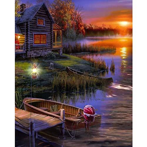 DIY 5D Diamond schilderij, op cijfers, set voor volwassenen, boten buiten, van hout, rond, boren, compleet, kruissteekset van mozaïek, voor het knutselen van S 20×30cm No frame