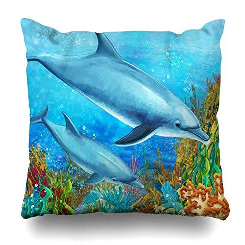 Mesllings Gooi Kussen Cover Comic Blauw Koraal Rif Kinderen Dolfijn Scuba Aquarium Aquatische Bubbles Ontwerp Panorama Decoratieve Kussensloop Vierkant 16
