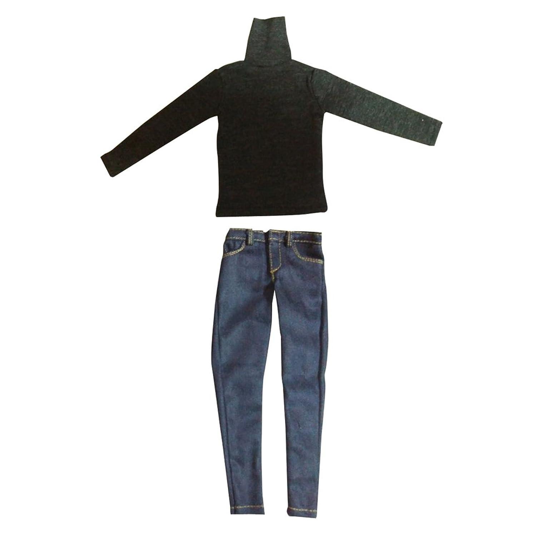 むさぼり食うとして音声学Toygogo 12インチドール ジーンズ Tシャツ 長袖 ハイネック 1/6スケール 男性フィギュア用 2点セット