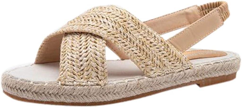Straw Sandals for Women Colorado Springs Mall Flat Woven Slipp Espadrilles Cross Criss Memphis Mall