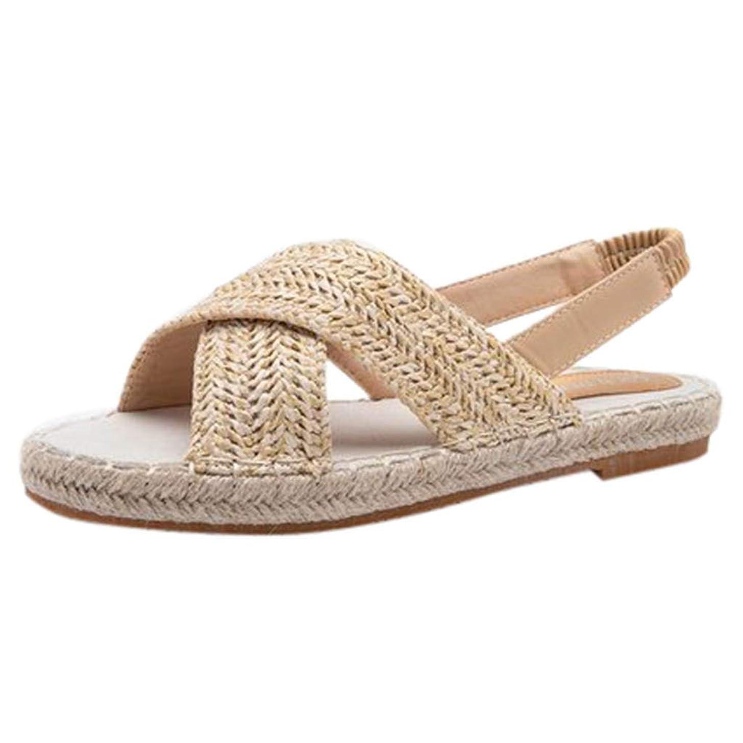 Women's Fashion Espadrilles Cross Strap Beach Casual Woven Beach Walk Shoes Peep Toe Flat Roman Sandals JHKUNO