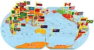 soying Children Wooden World Map Flag Jigsaw Puzzles