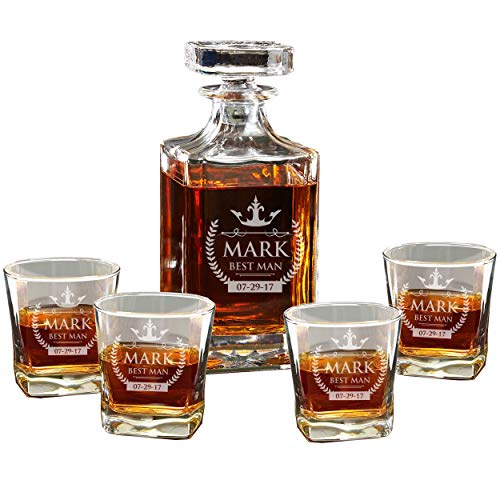 Custom Engraved Decanter and 4 Glasses Set - Personalized and Monogrammed
