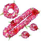 FEOYA Guirlande Fleurs Artificielles Ensemble de Bracelet et Collier Bandeau Couronne Simulation Floral Couronne de Mariage Photographie Voyage Plage Décoration pour Fille Femme Cadeau
