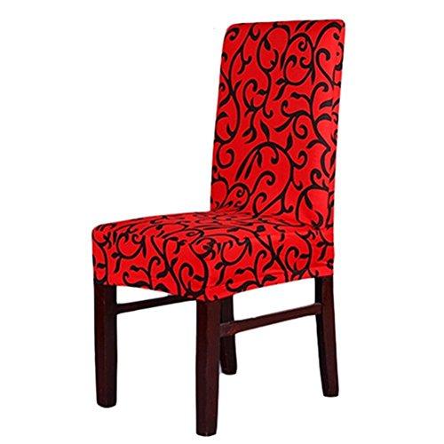 Verlike stretch Banquet Housses de mariage salle à manger pliante fête court Housses de chaise, Red Floral Print, Taille unique
