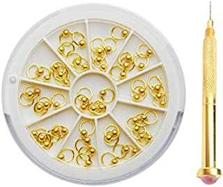 Generic Gold: 3mm Gold Silver Nail Art Dangle Beaded Ring Stud and Dotting Tool Set Acrylic UV Gel Manicure