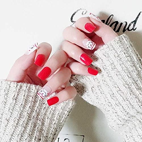 Faux ongles 24pcs faux ongles avec un motif Red Fortune Cat Faux ongles Détachable mal Manucure pré-conception des ongles en acrylique Conseils pour les