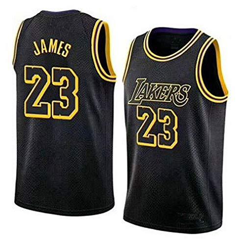 WANLN Lebron James #23 Camiseta de Baloncesto para Hombres - NBA Lakers Camiseta de Jugador de Básquetbol Bordado Transpirable y Resistente al Desgaste Camiseta de Fan de Hombres,Negro,S