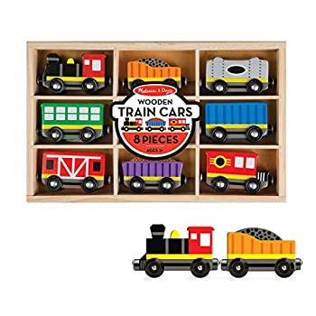 Melissa & Doug Wooden Train Cars  8 pcs