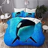 YCHY Bettwäsche-Set,Blauer Schwertwal-Killerwal,der unter Wasser mit Blasen-Weltmeer Orlando San Diego schwimmt,Dekoratives 3-teiliges Bettwäscheset mit 2 Kissenbezügen,Einzelgröße(135 x 200cm)