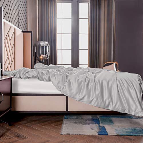 THXSILK Seide Bettbezug, Seide Tröster Cover, Seidenbettwäsche, 100% 19 Momme Bestnote Maulbeerseide Bettwäsche - 260 x 220cm, Grau