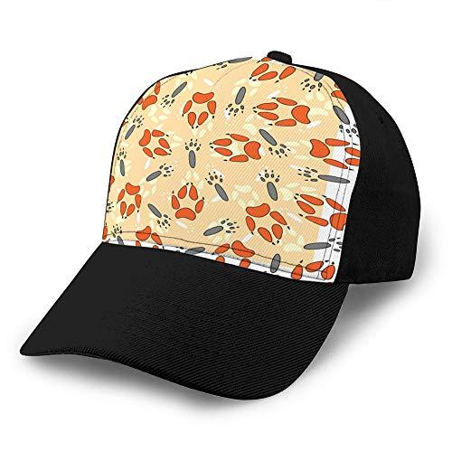 Gorras de beisbol,Sombreros militares,Papá-Sombreros para el día del padre,Regalo de Acción de Gracias Patrón sin costuras con huellas de animales Gorra de béisbol de mezclilla personalizada