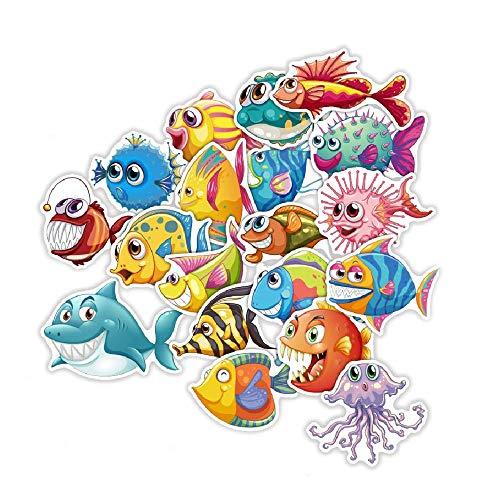 SetProducts  Top Pegatinas! Juego de 40 Pegatinas de Pescado Vinilos - No Vulgares - Tiburones, Acuario, Oceano, mar - Personalización Portátil, Auto, Moto, Laptop, Mac, Pc