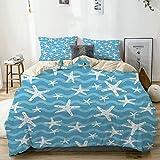 Juego de Funda nórdica Beige, Estrella de mar Blanca en océano Azul, Juego de Cama Decorativo de 3 Piezas con 2 Fundas de Almohada de fácil Cuidado antialérgico Suave Suave