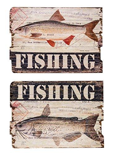 Lot de 2 oeuvres murales sur bois - motif poissons