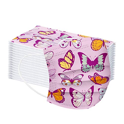 YAYUMI Adult's Disposable Butterfly Printed Ear Loop 3-ply Filter Oral Protection Face Bandanas 50PCS