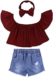Hooyi Camiseta de Hombros Descubiertos para Niñas,Vaquero Corto con Agujero,Venda,3 Piezas Conjunto