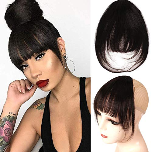 Clip in Bangs with Temple 100% Remy Human Hair Bangs Extensions French Bangs Air Bangs Neat Bangs with Temples Clip on Fringe Bangs (#1B/Natural Black, One Clip in)
