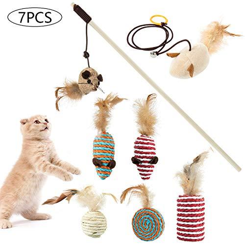 Comius Sharp 7 Stück Katzenspielzeug, Interaktives Katzenspielzeug Set, für Katzen und Kitten, für Spaß, Auslastung und Abwechslung im Katzenalltag