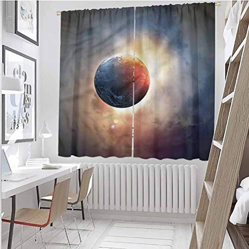 Cortinas opacas con aislamiento térmico, World,Days Circle Planet Sun, 2014 cm de longitud con ojales para tratamiento de ventanas (2 paneles)