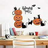 Shan-S Halloween Wall Sticker,Happy Halloween Party Background Creative Bat Pumpkin Lights Wall Art Sticker Mural Window Home Decoration Decal Home Decor