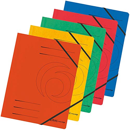 "Herlitz A4 ""Quality\"" Elastic Folder - Assorted Colours (5 Pieces)"
