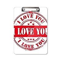 バレンタインの日の消印を愛してる フラットヘッドフォルダーライティングパッドテストA4