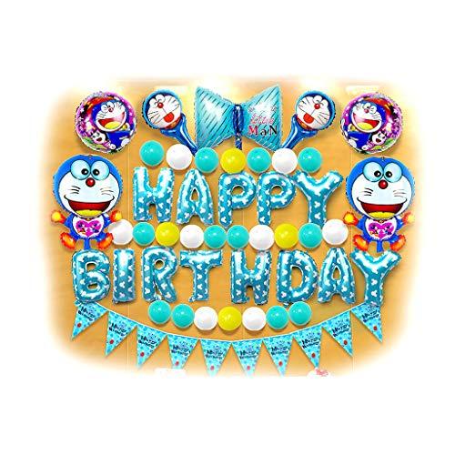 Decoración Juguete Fiesta De Cumpleaños Decoraciones De Fiesta Feliz Cumpleaños Suministros Conjunto, Globos Del Partido De Láminas, Rosa Del Gato Del KT, Blue Cerdo George, Azul Doraemon, Blue Monkey