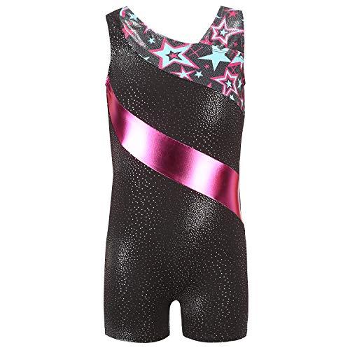 Tigerhu Girls Leotards Gymnastics with Shorts Dance Sparkly Biketard Star Activewear Unitards for Kids Toddler Children, Rose Red 6