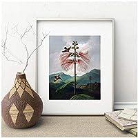モダンなヴィンテージ植物の花アートプリントビクトリア朝の花と鳥ハチドリ庭のポスター壁アートキャンバス絵画家の装飾-60x80cm1pcsフレームなし