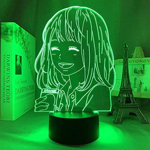 Lámpara 3D anime naranja para dormitorio luz de noche interior niños regalo de cumpleaños manga gadget naranja LED luz de noche mesita de noche