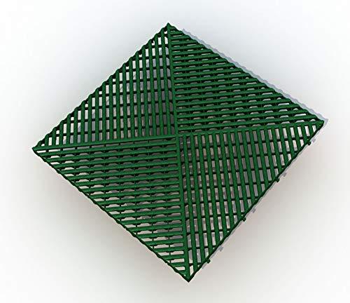 Bodengitter, Balkonfliese, Rasenfliese, Bodenrost, Terrassenfliese, 400 x 400 x 19 mm, aus Kunststoff, ab 12 Stück (12, grün)