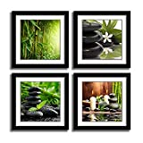 YPY 4 Piece Zen Spa Plumeria Canvas Wall Art - Green Wall Art Stretched Canvas Art Set Framed Ready to Hang (Green, 16x16 Frames)
