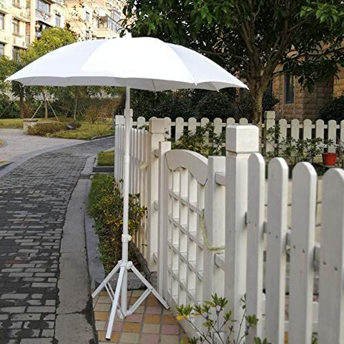 LDFZ Sombrilla Compacta De 1.4m con Pie De Parasol Triangular Sombrilla De Jardín Redonda Al Aire Libre Altura Ajustable Tema De La Boda Decoración-Blanco