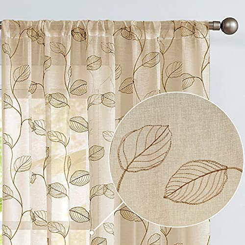 Embroidered Sheer Curtains For Living Room 63 Inch Long Geometric Leaf Embroidery Voile Window Curtains Rod Pocket Bedroom Window Treatment Set 2 Panels Taupe