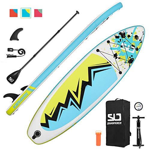 "Swonder Inflatable Stand Up Paddle Board, 32"" Wide Ultra Steady and Super Light-Weigh (17.2lbs) Board, Full Premium SUP Accessories- Adjustable Paddle, Backpack, Leash, and Pump for Youth & Adult"