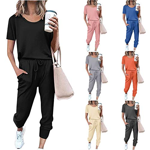 2Pc Damen Jumpsuit Pure Color Anzug Kurzarm Freizeit Tasche Home Jogginghose Sets High Waist Hosenanzug Romper Sommer Elegante Overall