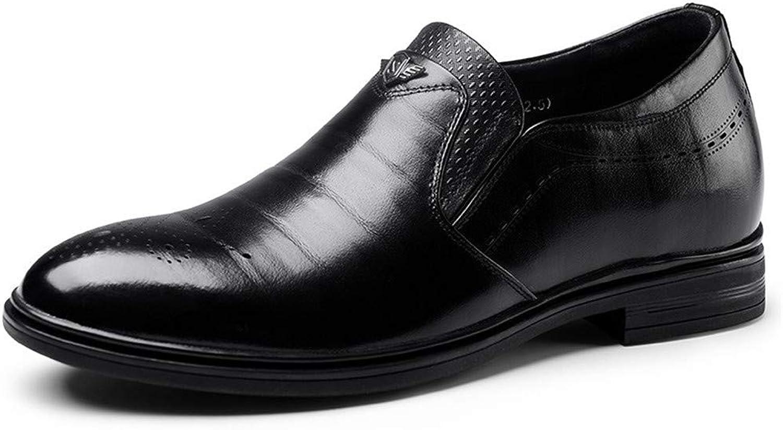 GOG Män Män Män glider på klädhöjd Höjd för skor Ökar 6 cm Elevator skor läder för bröllop svart  hälsosam